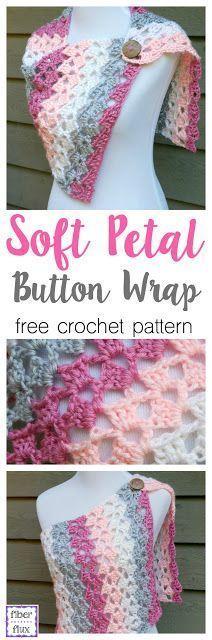 Soft Petal Button Wrap, free crochet pattern + full video tutorial from Fiber Flux!