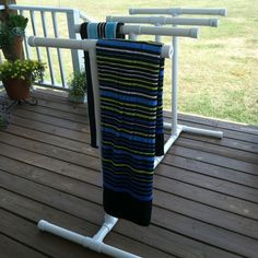 Easy, weather proof towel holder for your deck <3