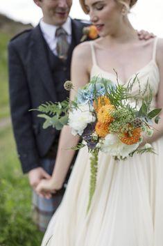 www.jackfleuriste.com orange, green and white bridal bouquet, summer 2014, photo by Paul Raeburn Photography, Edinburgh , UK