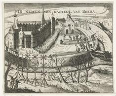 Anonymous | Inname van Breda, 1590, Anonymous, Bartholomeus Willemsz. Dolendo, 1601 - 1649 | De inname van Breda door het Staatse leger onder Maurits, 4 maart 1590. Het turfschip wordt de burcht ingetrokken. Op de voorgrond twee mannetjes bij de lijmstokken.