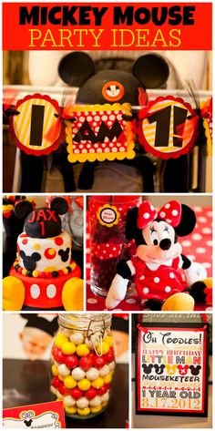 A red, yellow and black Mickey Mouse birthday party with an awesome cake and decorations!  See more party planning ideas at CatchMyParty.com!