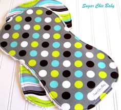 Baby Boy Burp Cloths  -  Triple Layer Chenille -  Set of 2  -Splendid  Dots & Stripes. $16.00, via Etsy.