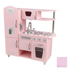 Let your kiddo help with the holiday baking in their new KidKraft Pink Vintage Kitchen. Doors open and close, knobs click and turn, and the cordless phone is perfect for when they want to step away and chat with friends. Also available in other colors.