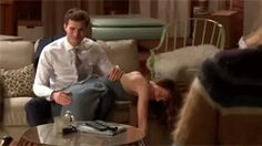 FSoG hahaha spanks and giggles. Jamie Dornan and Dakota Johnson Fifty shades of grey movie bts