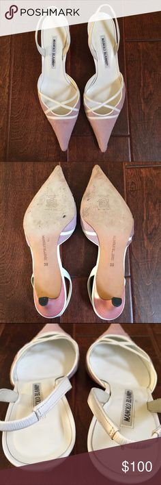 Authentic Manolo Blahnik Calf Hair Pumps Manolo Blahnik Calf Hair Slingback Pumps Color: Pinkish color & white 100% Authentic ❗️As you can see in the last few photos some calf hair is missing, a few patches, & a bit dirty but still can get a lot of use out of them❗️ Heel height is about 2 1/2 inches Manolo Blahnik Shoes Heels