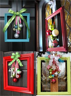 Elegant and unusual door decorations made from picture frames, ribbons and baubles.