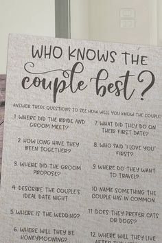 Grey Who Knows The Couple Best ? Rustic Bridal Shower Games Grey Who Knows The Couple Best ? Bridal Shower Questions, Fun Bridal Shower Games, Bridal Shower Planning, Unique Bridal Shower, Bridal Shower Decorations, Bridal Shower Invitations, Wedding Planning, Ideas For Bridal Shower, Wedding Reception Games For Guests