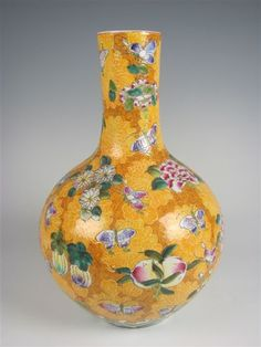 Chinese butterfly vase in tangerine