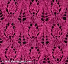 Lace Leaves of 2 different shapes. 16 rows x 10 stitch repeats plus 3 stitches.
