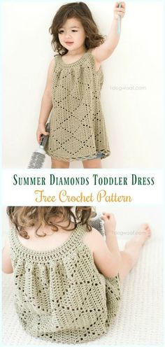 Crochet Summer Diamonds Toddler Dress Free Pattern- #Crochet Girls #Dress Free Patterns