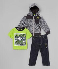 Look at this #zulilyfind! Yellow & Gray Hoodie Jacket Set - Infant, Toddler & Boys #zulilyfinds