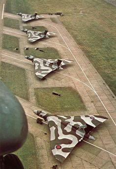 Four Vulcan B2s at RAF Finningley in 1977.