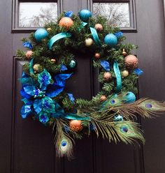 Poinsettia Peacock Wreath- Peacock Wreath- Christmas Wreath- Winter Wreath- Home Decor- Housewares- Front Door Wreath
