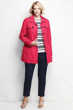 Women's Harbor Cropped Trench Coat from Lands' End