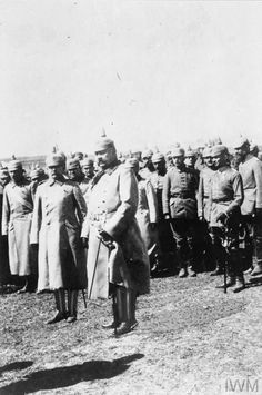 WWI, April 1917, Eastern Front; von Hindenburg and his staff on a tour of inspection of German units. ©IWM Q 86799