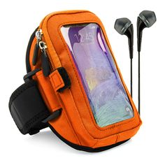 VG Zippered Hardcore Workout Armband for Samsung Galaxy S6 Edge Plus + / Note 5 / Note 4 / S6 Active / S6 / S5 / Note Edge with Black Headphones, Orange. Zippered layer pouch provides absolute protection ensuring your phone will never fall out. Smart pocket included inside allowing you to store keys, id, credit cards, or cash. Velcro elastic loop holds and stores earphones for personal use whenever required on the outside. Safety Strap secures phone in place while working out keeping you...
