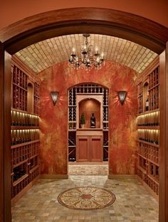 Love the brick ceiling in this wine cellar by Gregory Carmichael of   Seattle, WA, Photographed by Benjamin Benschneider