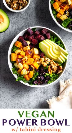 Vegan power bowl with roasted veggies, greens, avocado, nuts, and dried fruit and topped with an easy tahini dressing. Makes a great veggie loaded meal perfect for dinner or lunch meal prep. - Eat the Gains