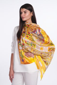 """Sirinbird silk scarf """"Sirin"""" from collection """"Different country: Russia"""". 90x90 cm, natural silk. Designed by Sirinbird in Russia, produced in Italy"""