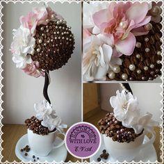 """Купить Топиарий """"Кофе со сливками"""", дерево счастья - коричневый, кофе, топиарий из кофе"""