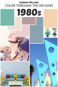 """We're celebrating our 150th Anniversary with a look back at popular color palettes from years past, including everyone's favorite big-hair decade, the 1980s. Thanks to the """"Miami Vice"""" effect, pastels like baby blues, dusty pinks and grays were among the most popular hues. Ready to add some throwback color to your house? Try Dressy Rose SW 6024, Casa Blanca SW 7571, Favorite Jeans SW 9147, Collonade Gray SW 7641, Flattering Peach SW 6638, Cooled Blue SW 6759 or Rosy Outlook SW 6316."""