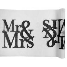Chemin de table Mr & Mrs blanc noir intissé 5 M