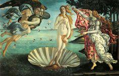 Una bellezza senza tempo! La nascita di Venere di Sandro Botticelli,  presso Uffizzi di Firenze. Rappresentanti a destra la primavera, impersonificata da una bellissima giovane donna, che porge a Venere un mantello per coprirsi. A sinistra i due venti, di cui uno Zefiro.