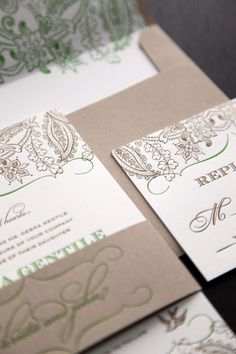 Letterpress kraft, gold, green, cream wedding invitations #letterpressinvites #outdoorinviteideas
