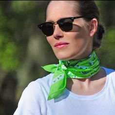 Go green with this lovely silk-cotton bandana by www.annetouraine.com