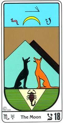 18. El Crepúsculo (La Luna) en el Tarot Egipcio Kier
