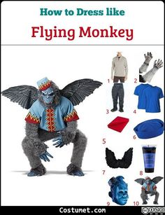 Flying Monkey (Wizard of Oz) Costume for Cosplay & Halloween 2020 Monkey Face Paint, Monkey Mask, Monkey 2, Halloween Party Costumes, Halloween Masks, Cool Costumes, Group Halloween, Halloween 2020, Halloween Ideas