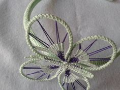 Unique mint and lilac butterfly  headband by sirghiliviahandmade
