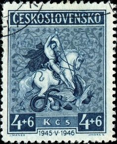 St.George and the Dragon, semi-postal stamp designed after a painting by Czech artist Josef Mánes (1820-1871), issued in 1946