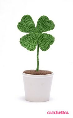 Potted crocheted clover