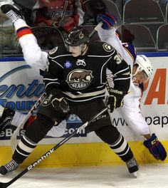 Emerson Etem of the Norfolk Admirals, right, is upended by Garrett Mitchell of the Hershey Bears at Scope on Wednesday, Nov. The Virginian, Hershey Bears, Award Winning Photography, Hockey Players, Emerson, Norfolk, Wednesday, Fan