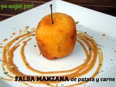pa mojar pan!: Falsa manzana rellena de patata y carne con salsa de oporto
