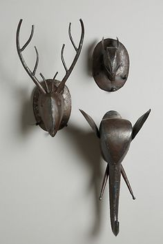 An iron spin on the animal bust wall decor