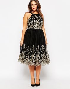 Image 4 ofChi Chi London Plus Embroidered Metallic Lace Prom Dress