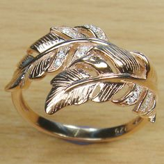 Micro Setting White CZ 925 Sterling Silver Pink Gold Plate Leaf Ring