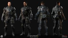 Hello, Here is one of many characters I did for called They are super human soldiers that serve alongside antagonist Robert North. I was responsible in creating Highpoly, Lowpoly, Textures for the character. Helmet Base by Nesar, final Sniper Ghost Warrior 3, Special Forces Gear, Medium Armor, Combat Suit, Tactical Armor, Max Steel, Suit Of Armor, Sci Fi Characters, Star Wars Poster