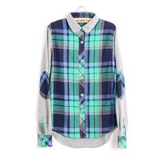autumn ladies  newversion of mosaic patch elbow Plaid Shirt long sleeve shirt GS3064