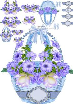 Blue Hanging floral Basket mini kit on Craftsuprint designed by Tina Fitch - All in blue a Beautiful hanging basket shaped card...Look out for the other's coming - Now available for download!