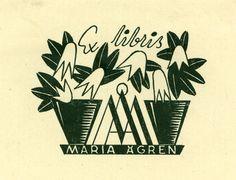 Ex libris Maria Ågren by Inga Brita Nordwall - Sweden, 1941