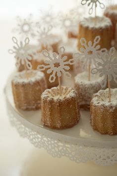 One Girl Cookies sugared canelles and Martha Stewart Crafts snowflake punch. A variation on the French original...