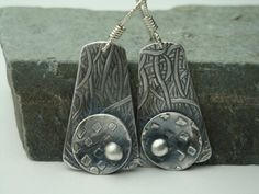 Woven Memories  PMC Earrings  Small Fine Silver by Silvermaven, $33.00
