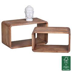 Wohnling WL1.538 Akazie Massivholz Satztisch Beistelltisch 2er Set Cubes Würfelregal 70 x 36 x 40 cm, natur