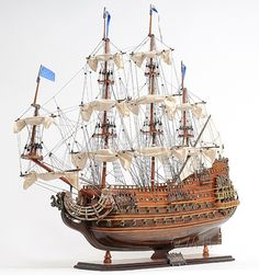 "CaptJimsCargo - Soleil Royal Tall Ship Wooden Model 28"" Sun King Louis XIV, (http://www.captjimscargo.com/model-tall-ships/warships/soleil-royal-tall-ship-wooden-model-28-sun-king-louis-xiv/)"