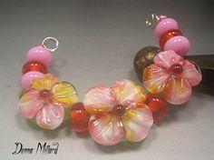 HANDMADE LAMPWORK Beads SET Sculpted Flowers pink rose Donna Millard sra summer spring garden