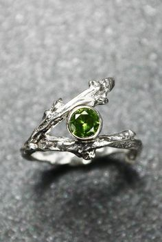 Sterling Silver Twig Ring with Birthstone