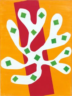 """'Henri Matisse: The Cut-Outs,' a Victory Lap at MoMA  """"White Alga on Orange and Red Background (Algue blanche sur fond orange et rouge)"""" (1947). Matisse's later work has been drawing crowds partly because of a popular image of the artist, derived from photographs and long in circulation, as a serene, bespectacled pasha propped up in a bed in sunny Nice surrounded by doves and flowers."""